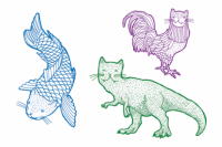 Tatuagem temporária Gato Remix 1 de Le Petit Pirate