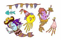 Tatuagem temporária Mar em festa 1 de Le Petit Pirate